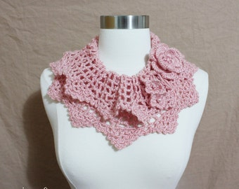 Lovely Crochet  Collar Cowl Neckwarmer Scarf with Flower