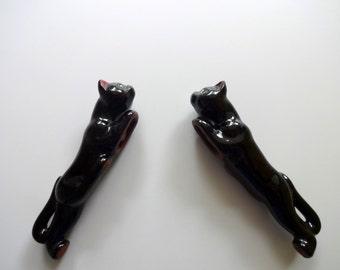 Vintage Redware Black Cat Salt and Pepper Shakers 1950s