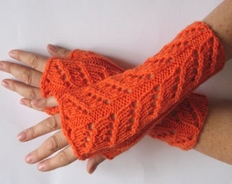 "Fingerless Gloves Orange 9"" Arm Warmers Mittens Soft Acrylic"