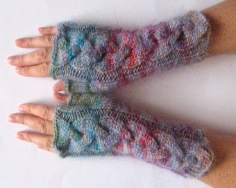 Fingerless Gloves Wrist Warmers Mittens Azure Red Burgundy Purple Knit