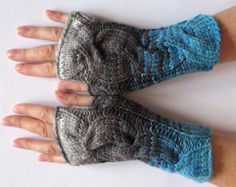 Fingerless Gloves Gray Black White Blue Arm Warmers Knit Soft