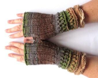 Fingerless Gloves Brown Beige Gray Green wrist warmers