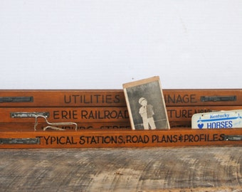 Vintage Engineering Wood Plan Holder Repurpose For a Photo Holder Wall Hanging Home Decor Your Choice of One