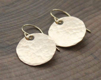 Gold Hammered Dangle Earrings - Full Circle Earrings