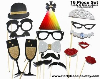 Best Wedding Photo Booth Prop - 16 Piece GLITTER Set - Mustache Birthday Photobooth Party Props