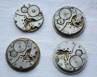 0.9 inch Set of 4 vintage watch movements.