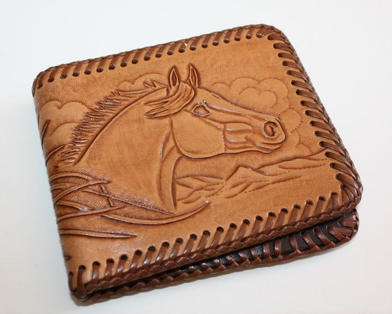 Leather wallet hand tooled carved horse vintage by
