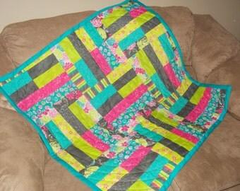 Bright lap quilt.  Lightweight blanket.