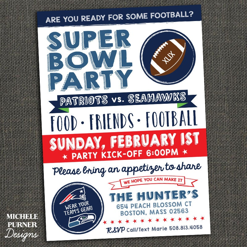SUPER BOWL PARTY Football Party By Michelepurnerdesigns On Etsy