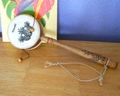 Child's Wood Leather Hand Drum Pineapple Hawaii Vintage
