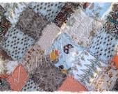 Rag Quilt - Indelible Subtle - King Queen Full Twin xl Throw - Persimmon - Blue - Gray -  - Handmade Bedding