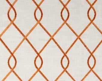 "Two  96"" x 50""  Custom Curtain Panels - Duralee  Embroidered Rico - Papaya Orange"