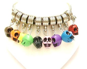 30 Mixed Color, Euro Skull Dangle Charms, Charm Bracelet Beads,  Pink, Red, Black, Orange, Purple, Blue, Green, White, Yellow, Brown