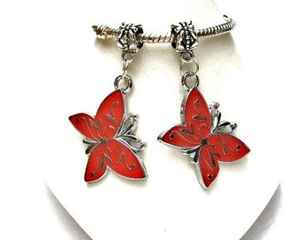 2 Large, Enamel, Butterfly Dangle Charm,  European Beads,  Bracelet Charm or Pendant,  Red, Black & Tibetan Silver