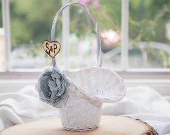 Gray Flower White flower girl basket you pick the color of ribbon and flower plus initials