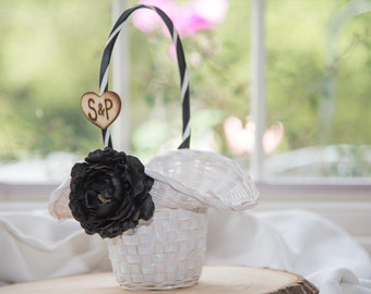 Black Flower White flower girl basket you pick the color of ribbon and flower plus initials