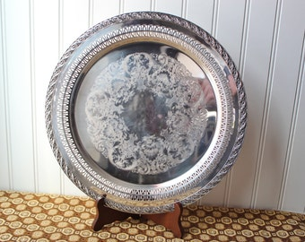 William Rogers Spring Flower Pierced Silver Plated Tray 2070