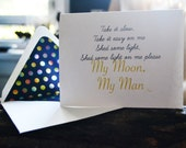 Feist - My Moon My Man Song Inspired - Single Blank Card - Love - New Relationship - Foiled Multi-Colored Circled Lined Envelope