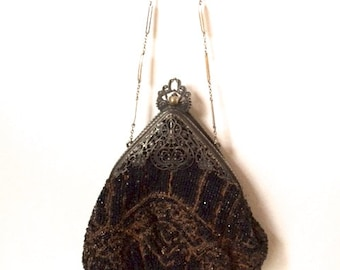 Victorian Hand Beaded Purse Circa 1900's Vintage Fashion Accessory