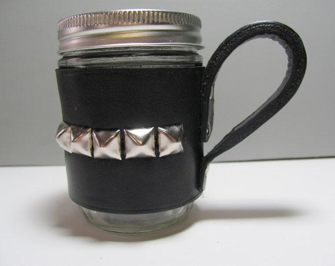 Mason jars, leather sleeved ,studded leather mason jar, glass jars,decorated mason jars, black leather