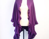 PLUM Purple RUFFLED WRAP Shawl