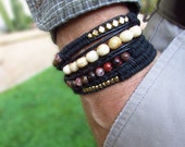 Custom Order: Men's Wrap Bracelet with Solid Brass Beads from Africa