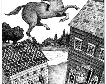 Bitter Sweet Jester - A girl riding a horse flying over victorian houses, equestrian, pen and ink print by Dan Blakeslee