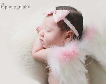 "Baby Shower Gift set Angel Wings with Halo Newborn Infant Soft, Beautiful Two tone or solid Professional Photo Prop 9"" x 7.5"""