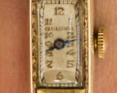 Vintage Working Bulova Watch with Yellow Gold Colored Band - FREE SHIPPING