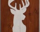 Deer Silhouette on Wood Wall Hanging