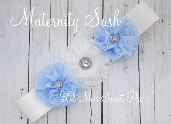 Maternity Sash Expecting a Boy! Blue & White Lace Flowers Lace Flowers on a sash - photo prop for mom and baby, by Lil Miss Sweet Pea