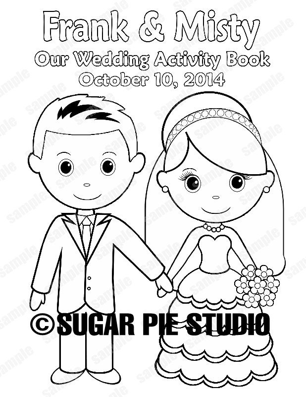 It is a graphic of Invaluable Personalized Wedding Coloring Book
