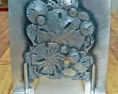 Metzke Pewter Bookends sand dollar motif nice pair 1975 design 1980 manufacture!