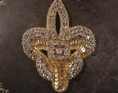 Vintage French Fleur de Lis Gold Sequin and Rhinestone Applique / Patch / fleur-de-lys