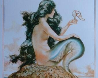 Art Deco Art Print  La Vie Parisienne Mermaid Sirene