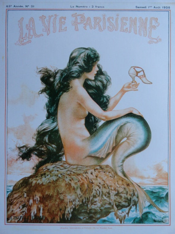 Art Deco Art Print  La Vie Parisienne Mermaid Sirene