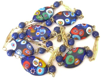 Vintage Millefiori Necklace, Millefiore Disks, 1950s Italian Estate Jewelry