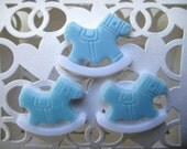 "1"" Blue Rocking Horse Charms, Embellishment, Baby Shower Favor, Table Scatter, Favor Accents, Crafting, Embellishment"