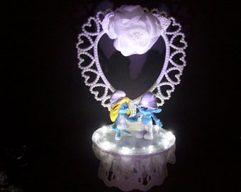 THE SMURFS with White LIGHTS Smurfette Bride and Groom Funny Birthday Wedding Cake Topper