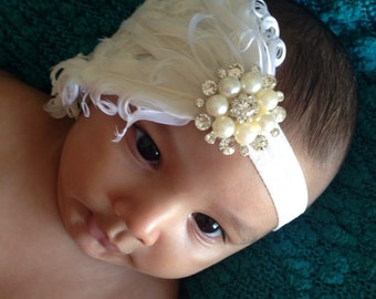 Baby Girl Vintage Inspired white Feather pad rhinestone baby headband ,Elastic Headband