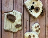 "Crochet baby set, size 0-3 mos - Beanie and ""Puppy Paw"" slippers and diaper cover  - an adorable baby photo prop or outfit, made to order"