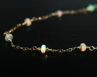 Genuine Opal Necklace, Gold Bridal Jewelry Natural Ethiopian Opal Necklace, Opal Bead Gemstone Chain Necklace, Dainty Gold Layering Necklace