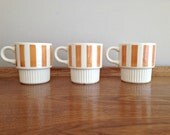 Retro 1970s Coffee Mugs Orange Stripe USA California Pottery