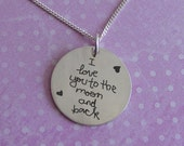 I love you to the moon and back, personalized jewelry, personalized quote, love necklace, handwriting necklace, handwriting jewelry, unique
