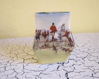 Vintage Royal Doulton Fox Hunting Miniature Vase D5104
