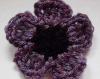 Crocheted Poppy Brooch - Purple to Remember Animals