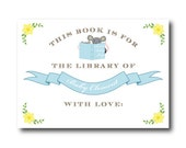 Mouse (Blue) Bookplate Stickers - This Book Belongs to - For the Library of - Stock the Library Story Book FREE SHIPPING