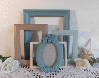 Beach Cottage Frames Shabby Chic Rustic Distressed Picture Photo Gallery Collection Set French Country Farmhouse Coastal Home Decor