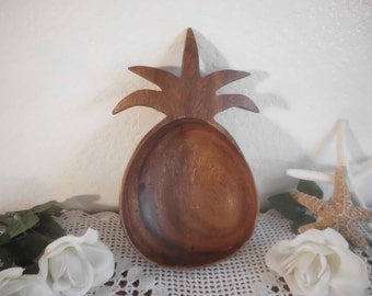 Vintage Pineapple Wood Serving Bowl Wooden Beach Cottage Hawaii Island Home Decor Tropical Destination Wedding Decoration Bar Party Gift