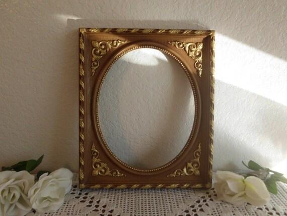 vintage oval picture frame ornate gold syroco 8 x 10 rustic. Black Bedroom Furniture Sets. Home Design Ideas